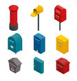 isometric set of a post box or written postbox vector image
