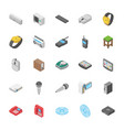 isometric set of objects collection vector image