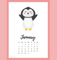 january 2018 year calendar page vector image vector image