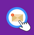 mail icon unreading e-mail concept hand mouse vector image vector image