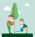 man and woman planting trees outdoors vector image