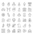 merry christmas set 5 outline icon editable stroke vector image