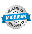 michigan 3d silver badge with blue ribbon vector image vector image