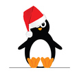 penguin with christmas hat vector image vector image