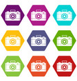 photo camera icon set color hexahedron vector image vector image