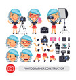 photographer woman character constructor vector image