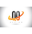 qo q o letter logo with fire flames design and vector image