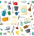 seamless pattern of home cleaning items vector image vector image