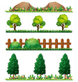 Seamless rocks and fences vector image