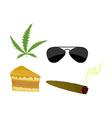 Set of drugs Accessories addict Marijuana and vector image vector image