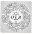 set of easter cartoon doodle objects vector image vector image