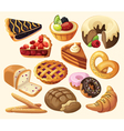 Set of pies and flour products vector image vector image