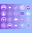 social network set of icons vector image vector image