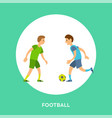 sportsmen running with ball football icon vector image vector image
