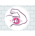 strong man hand with icon of thumb up on vector image