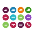 Transport circle icons on white background vector image vector image