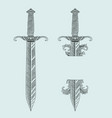 vintage dagger with engraving style set vector image