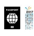 World Passport Icon with 2017 Year Bonus Symbols vector image vector image