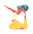 young woman in yoga asana rajakapotasana or full vector image