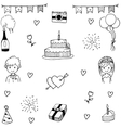 Set wedding party in doodle hand draw vector image
