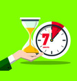7 seven minutes clock flat design time symbol vector image vector image