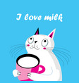 a funny cat with a cup milk vector image vector image