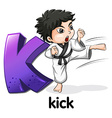 A letter K for kick vector image vector image