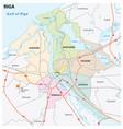 administrative and road map latvia capital riga vector image vector image