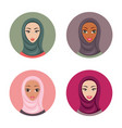 beautiful young muslim woman icons set girls vector image
