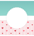 Blue and pink stripped card template with hearts vector image vector image