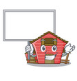 bring board character red barn building with vector image