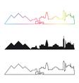 cairo skyline linear style with rainbow vector image