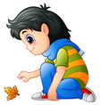 cartoon little girl with au vector image vector image