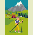 cool flat style on happy elderly man hiking or vector image vector image