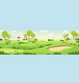 countryside golf course with flags vector image