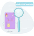 credit card analytics concept in line art style vector image vector image
