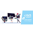cyber monday poster with family carry stack of vector image