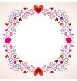 decorative hearts and flowers frame vector image vector image