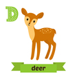 Deer D letter Cute children animal alphabet in vector image vector image