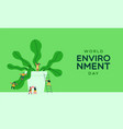 environment day card people and green plant vector image vector image