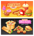 fast food banners set vector image vector image
