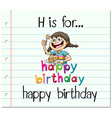 Flashcard letter H is for happy birthday vector image vector image