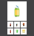 flat icon soda set of soda lemonade drink and vector image