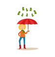 girl with umbrella under dollar rain vector image