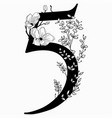 hand drawn floral number five monogram and vector image vector image