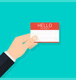hand holding business card hello my name is vector image