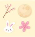 happy mid autumn festival head rabbit sakura vector image vector image