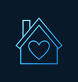 house with heart blue line icon love home vector image vector image