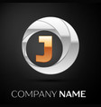letter j logo symbol in the golden-silver circle vector image vector image