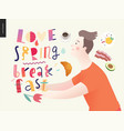 love spring breakfast lettering composition vector image
